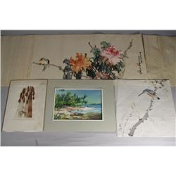 A Group of Three Watercolors, Together with A Woodland Collage by Francis Rohr.