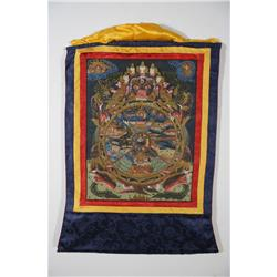 A Tibetan Thangka Depicting The Wheel of Karma Embraced by Yama, Lord of the Underworld.