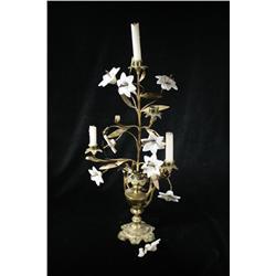 A Gilt Brass and Milk Glass Flower Form Candelabra.