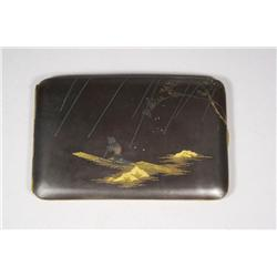 A Japanese Inlaid Metal Cigarette Case.