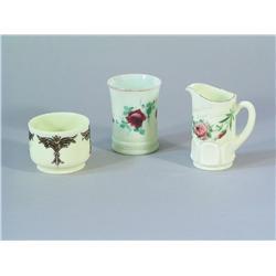 Three Pieces of Victorian Custard Glass.