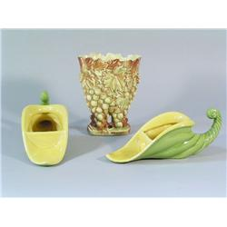 A McCoy Vase with Two Ceramic Cornucopias.