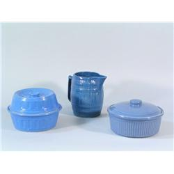 A Collection of Blue Ceramic Items.