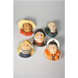 A Group of Five Figural Heads Including Three Bossons and Two Legend Products Heads,