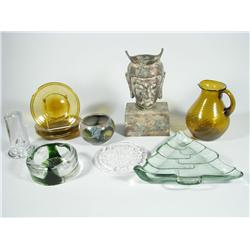 A Collection of Glass and Brass Decorative Items.