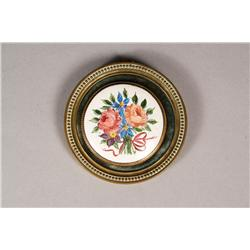 A Continental Painted Enamelled Diminutive Plaque with Brass Frame.