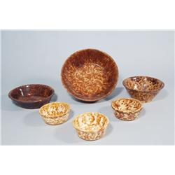 A Group of Six Brown Spongeware Bowls.