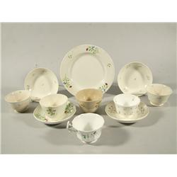 An Assembled Set of Six Spode Sprig Bluebell Design, Together with Three Stick Spatter Cups, Saucer