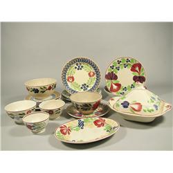 An Assembled Set of 19th and 20th Century Stick Spatter Plates, Bowls, Cups and Saucers.