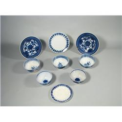 A Miscellaneous Collection of Nine Stick Spatter Plates and Bowls in the Blue Fern Pattern.
