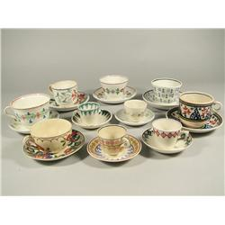 A Group of Ten Sets of Stick Spatter Cups and Saucers.