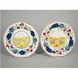 Two Stick Spatter Plates with Transfer Print Rabbit Decoration.