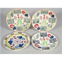 Four Stick Spatter Plates with Transfer Print Rabbits in Rabbit Scenes.