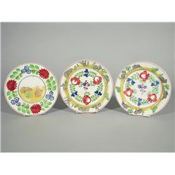 Three Stick Spatter Plates with Transfer Print Rabbit and Frog Decoration.