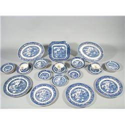 A Miscellaneous Collection of Blue and White Porcelain Transfer Dinnerware with Wedgwood Jasperware.