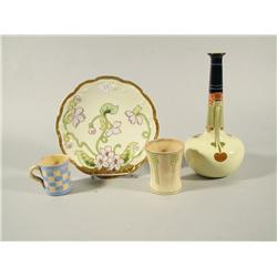 An Arts and Crafts Style Porcelain Vase Together with Limoges Porcelain Plate and an Arts and Crafts