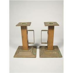 A Pair of 20th Century Arts and Crafts Style Copper Candlesticks.