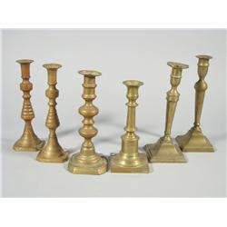 A Group of Six 19th and 20th Century Brass Candlesticks.