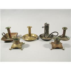 A Group of Six 19th and 20th Century Brass and Wrought Metal Candlesticks.