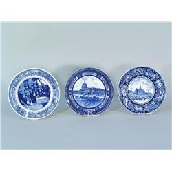 Three Blue Historical Plates Including Royal Doulton, Staffordshire,