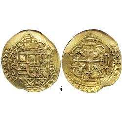 Mexico City, Mexico, cob 8 escudos, 1713J, from the 1715 Fleet, encapsulated NGC AU-55, choice strik