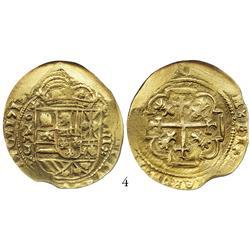 Mexico City, Mexico, cob 8 escudos, 1713J, from the 1715 Fleet, encapsulated NGC AU-55, choice strik