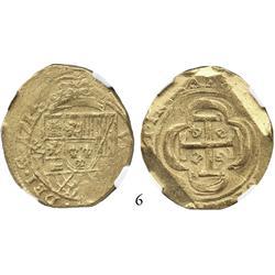 Mexico City, Mexico, cob 8 escudos, 1714J (full date), from the 1715 Fleet, encapsulated NGC AU-55.
