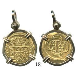 Mexico City, Mexico, cob 2 escudos, (171)5J, rare, mounted in 18K necklace bezel.