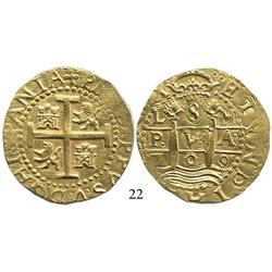 Lima, Peru, cob 8 escudos, 1709M, scarce.
