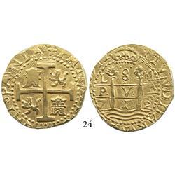 Lima, Peru, cob 8 escudos, 1712M, 2 dates.