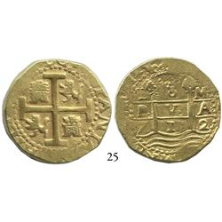 Lima, Peru, cob 8 escudos, 1712M, 2 dates, obverse legend beginning at 6 o'clock.