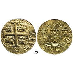 Lima, Peru, cob 8 escudos, 1716M, rows of dots, encapsulated NGC XF-45.