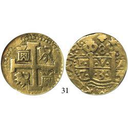 Lima, Peru, cob 8 escudos, 1734/3N, encapsulated NGC VF-25, rare overdate.