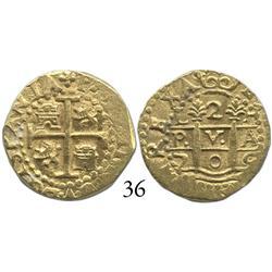 Lima, Peru, cob 2 escudos, 1705H, rare.