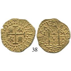 Lima, Peru, cob 2 escudos, 1709M, choice.