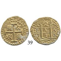Lima, Peru, cob 2 escudos, 1710H, choice.