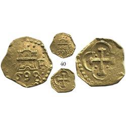 Lima, Peru, cob 1 escudo, 1698R, very rare assayer for date.