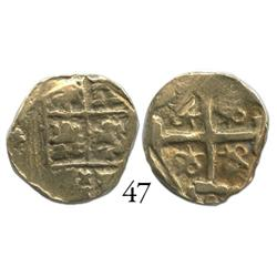 Bogotá, Colombia, cob 2 escudos, Charles II, assayer not visible, cut down to weight of a 1E.