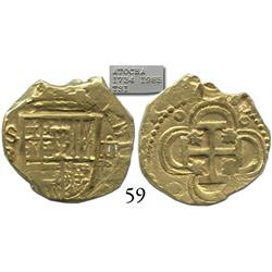 Seville, Spain, cob 2 escudos, Philip III, assayer B, from the Atocha (1622), rare provenance.