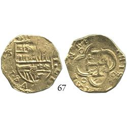 Seville, Spain, cob 2 escudos, Philip III, assayer V, broad flan.