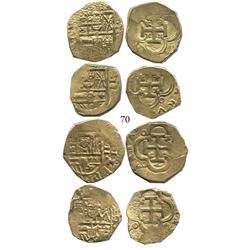 Lot of 4 Seville, Spain, cob 2 escudos, Philip III, assayers not visible.