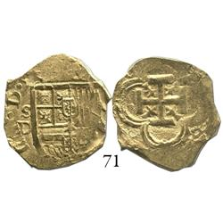 Seville, Spain, cob 2 escudos, Philip IV, assayer D.