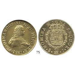 Santiago, Chile, bust 8 escudos, 1751J, from the Luz (1752), encapsulated NGC MS-62.