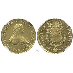 Santiago, Chile, bust 8 escudos, 1751J, from the Luz (1752), encapsulated NGC MS-61.