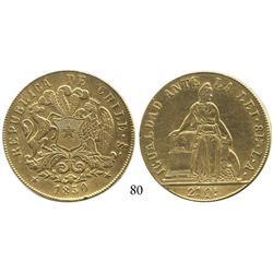 Santiago, Chile, 8 escudos, 1850LA.