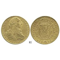 Popayán, Colombia, bust 8 escudos, Charles III, 1774JS, from an unidentified shipwreck.