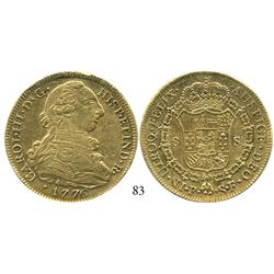 Popayán, Colombia, bust 8 escudos, Charles III, 1776SF, desirable date.