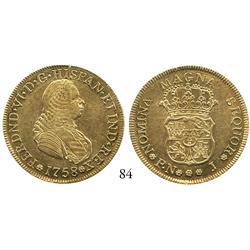 Popayán, Colombia, bust 4 escudos, Ferdinand VI, 1758J, nice grade.