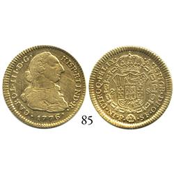 Popayán, Colombia, bust 2 escudos, Charles III, 1776SF, desirable date.