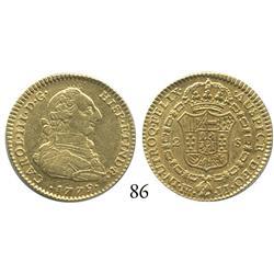 Bogotá, Colombia, bust 2 escudos, Charles III, 1779JJ, choice high grade.